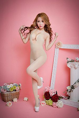 8607 CREAM BODYSTOCKING