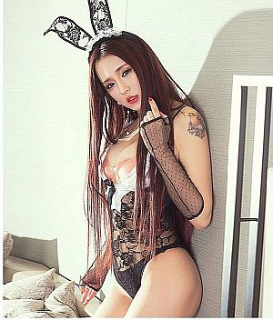 C743 BUNNY MAID BLACK (OPEN CROTCH)